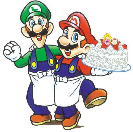Mario and Luigi with a cake featuring Toad and Princess Peach on top!