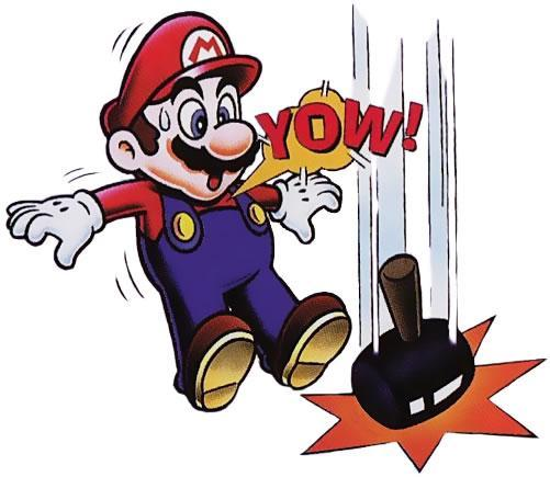 Mario has a near miss with a hammer in Helmet
