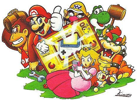 Mario, DK, Wario, Yoshi, Bowser, Peach and Toad in Game & Watch Gallery 2 artwork