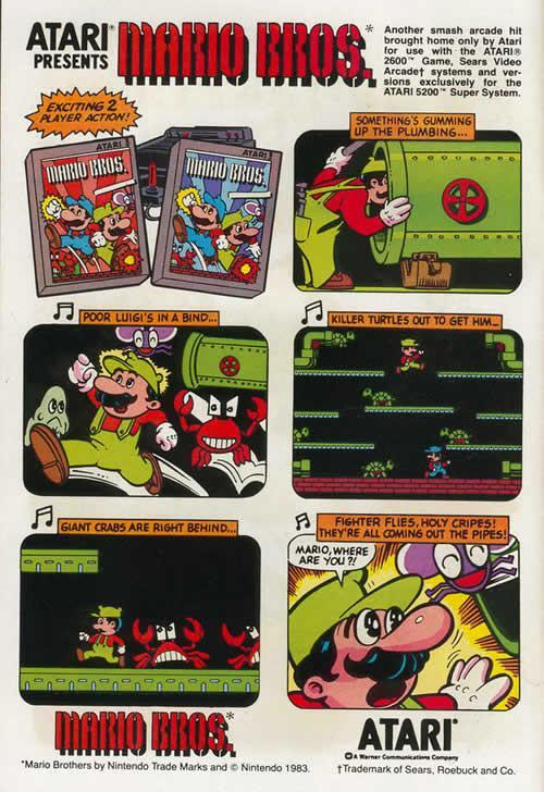 An comic style advertising poster for the Atari version of Mario Bros.