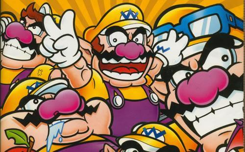 Wario with a multitude of other Wario's in a Wario Land 4 artwork