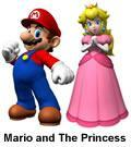 Mario next to Princess Peach