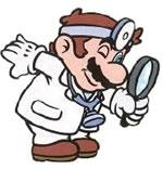 Dr. Mario with his magnifying glass