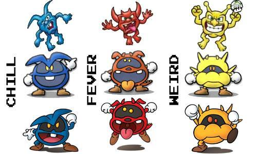 Chill, Fever and Weird the viruses from the Dr. Mario series in all their different versions