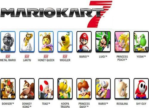 All the playable characters of Mario Kart 7 - some new faces and many familiar