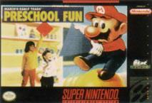 Mario's Early Years Preschool fun on the SNES box cover