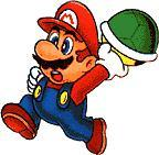 Mario throwing a shell