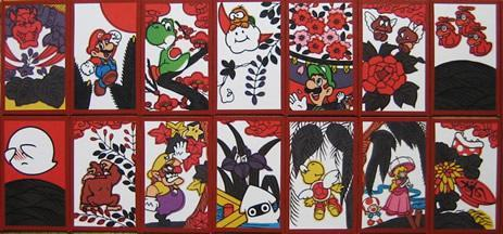 Modern versions of Hanafunda cards featuring Nintendos own popular videogame characters