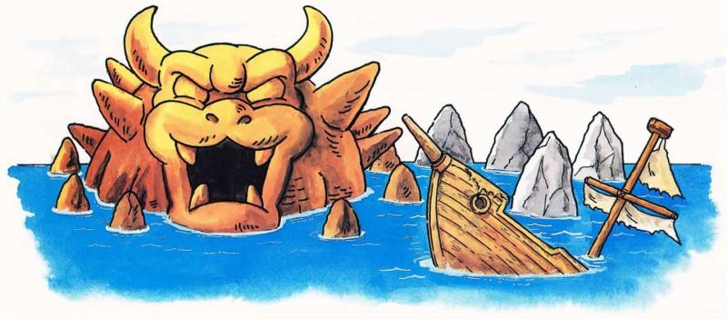 An official artwork of the Sunken Ghost Ship and the entrance to the Valley of Bowser.