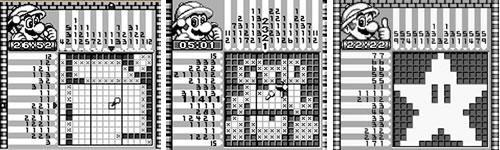 Screenshots of Mario's Picross on the Game Boy