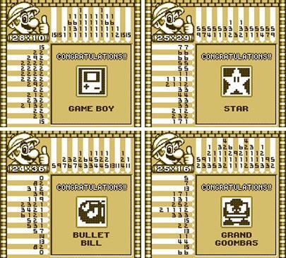 The Kinoko Cup in Mario's Picross features Bullet Bill, Grand Goomba, Star and Game Boy cameos