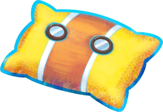 A yellow pillow from Mario & Luigi: Dream Team