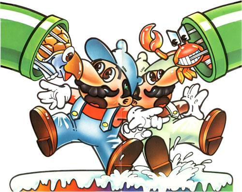 Mario and Luigi getting attacked in their retro Atari style outfits in the original Mario Bros