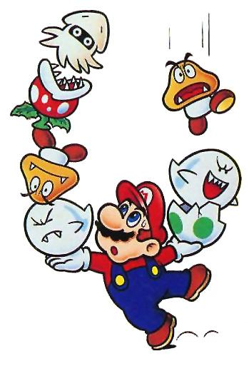 Mario juggling Bloobers, Piranha Plants, Goombas and Boo's.