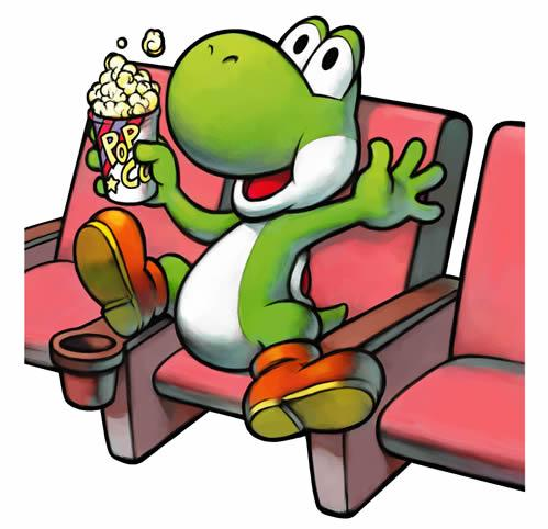 Yoshi in the Yoshi theatre watching the events of Mario & Luigi: Superstar Saga unfold