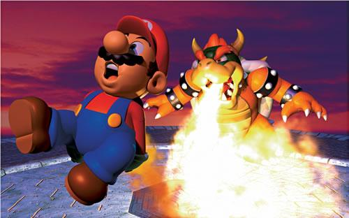 Bowser chargrilling Mario in the Mario 64 artwork set