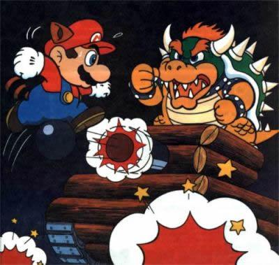 Mario Fighting With Bowser