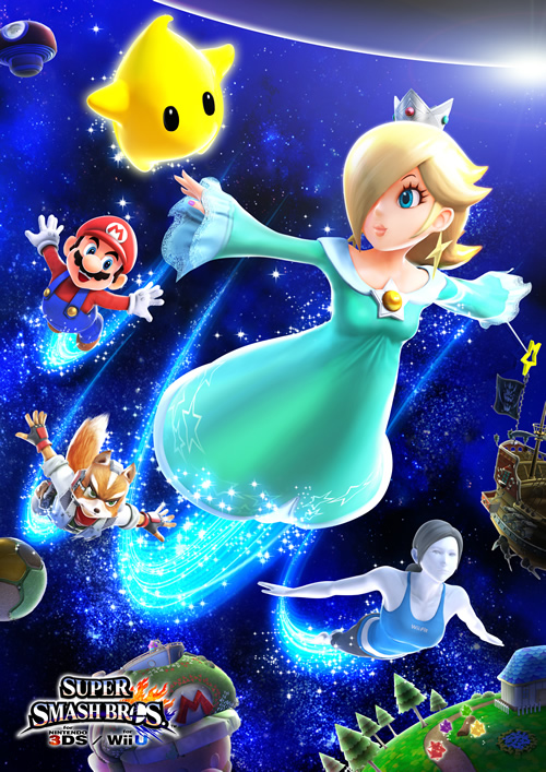 Mario, Luma, Fox, Rosalina and Wii Fit Trainer flying through space in Super Smash Bros 4
