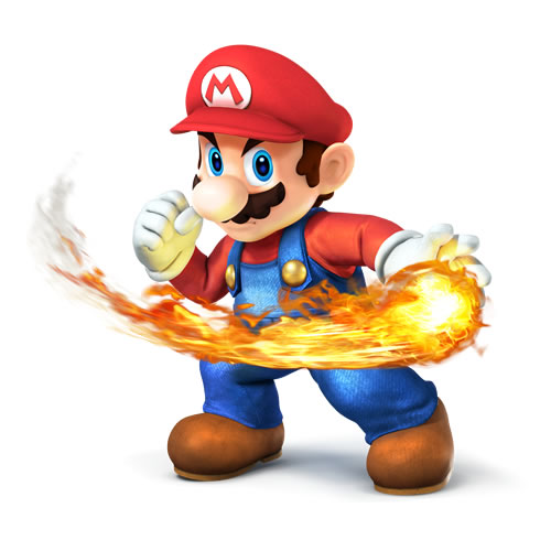 Mario with a fireball in Super Smash Bros