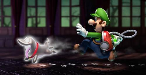 Luigi chasing the Polterpup in Luigi's Mansion 2: Dark Moon