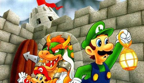 Luigi searching for Mario, who is being kidnapped by Bowser just behind him!