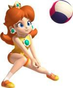 Daisy hitting a volley ball