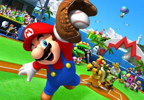Mario catching a baseball