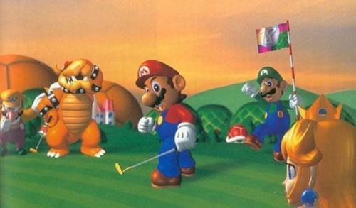 Mario Golf group art: Wario, Bowser, Mario, Luigi and Peach
