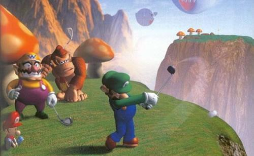 Luigi swinging as Baby Mario, Wario and Donkey Kong watch on