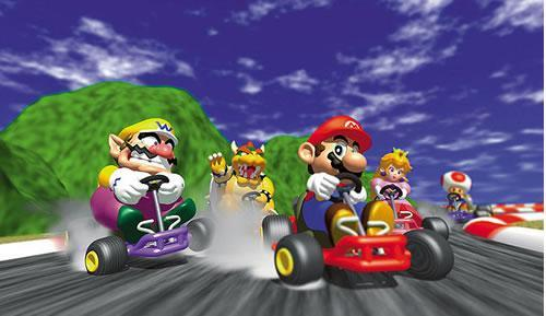 An artwork scene with Wario, Bowser, Mario, Peach and Toad