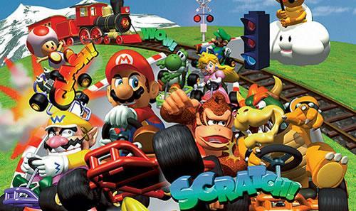 A group artwork featuring all the characters in Mario Kart 64