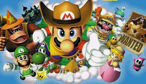Mario with his cowboy hat on + the other characters from Mario Party 2 in group art