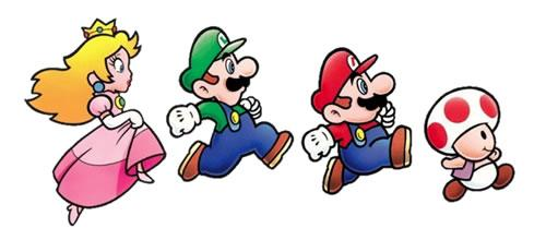 Mario, Luigi, Princess and Toad the cast of Super Mario Advance