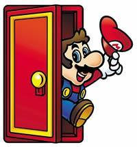 Mario coming out of a door from Super Mario Advance