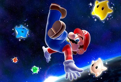 Mario floating in space surrounded by Lumas
