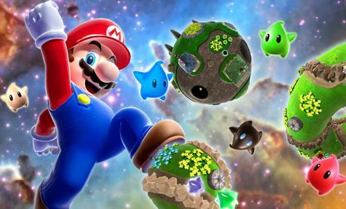 Mario floating in space, near a big Mario shaped planetoid!