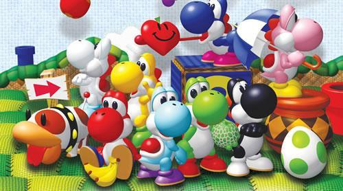 An art scene from Yoshi's Story including all the different coloured Yoshi's