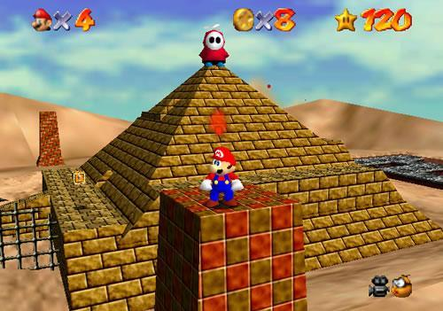 Mario on a Pyramid in Shifting Sand Land