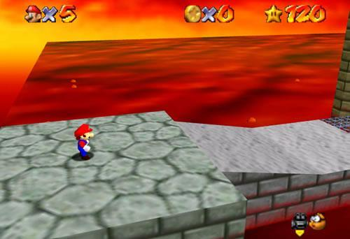 Mario in the midsts of the Fire Sea
