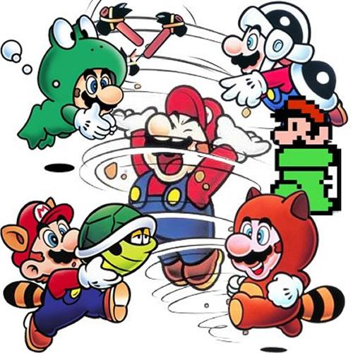 Some of Mario's powered up forms in Super Mario Bros 3 including Frog, Hammer, Racoon and Tanooki Mario
