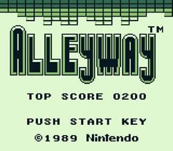 Alleyway (Game) titlescreen for Game Boy