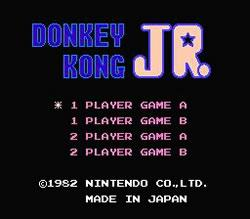 Donkey Kong Jr. title screen for NES