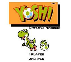 Yoshi (game) for the Nintendo Entertainment System title screen