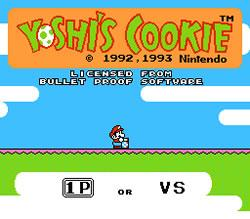 Yoshi's Cookie NES Title screen