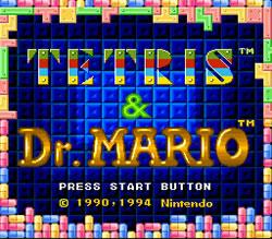The Dr. Mario and Tetris double cart title screen, for SNES